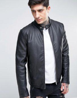 Áo khoác da Faux Leather Racing Jacket
