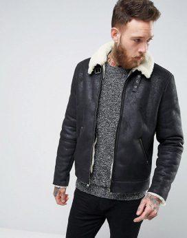 Áo khoác da Faux Shearling Jacket