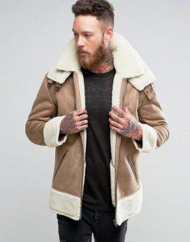 Áo khoác da Oversized Faux Shearling Jacket